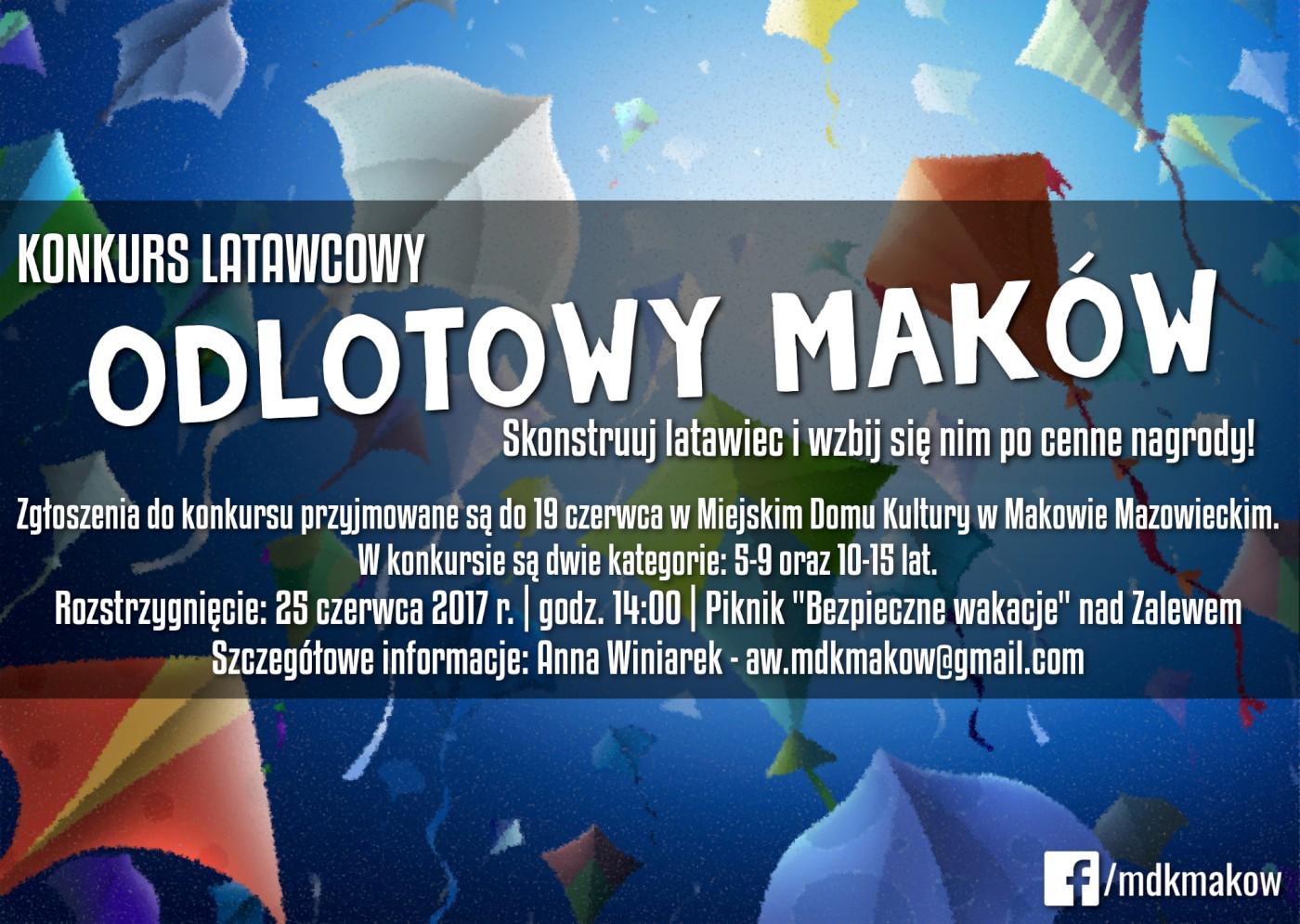Plakat konkursu latawcowego Odlotowy Maków.