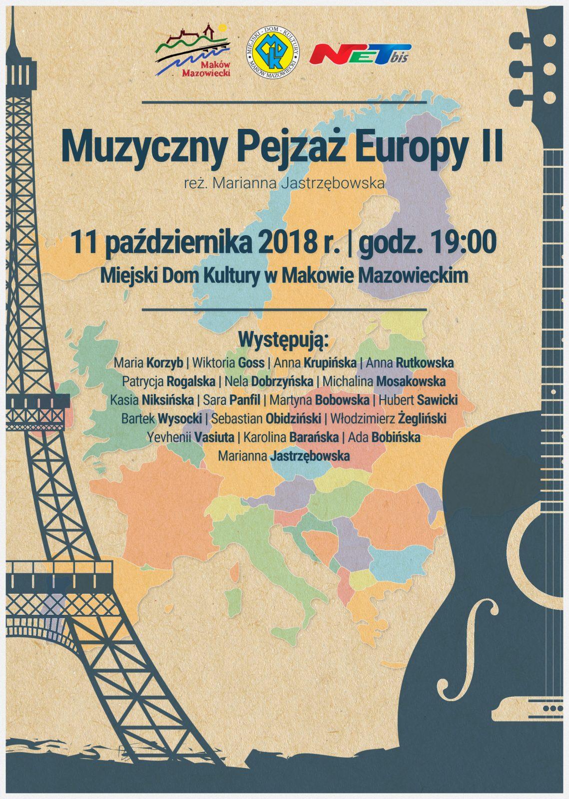 Plakat. Muzyczny pejzaż Europy. 11 października 2018 godzina 19:00