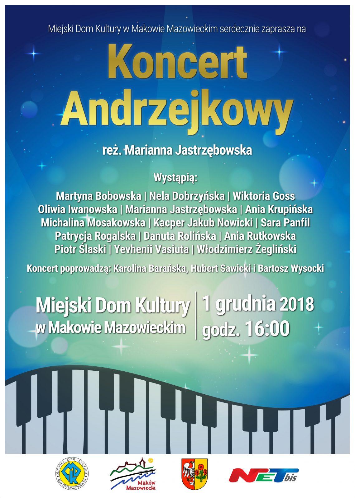 Plakat. Koncert Andrzejkowy. 1 grudnia godzina 16:00