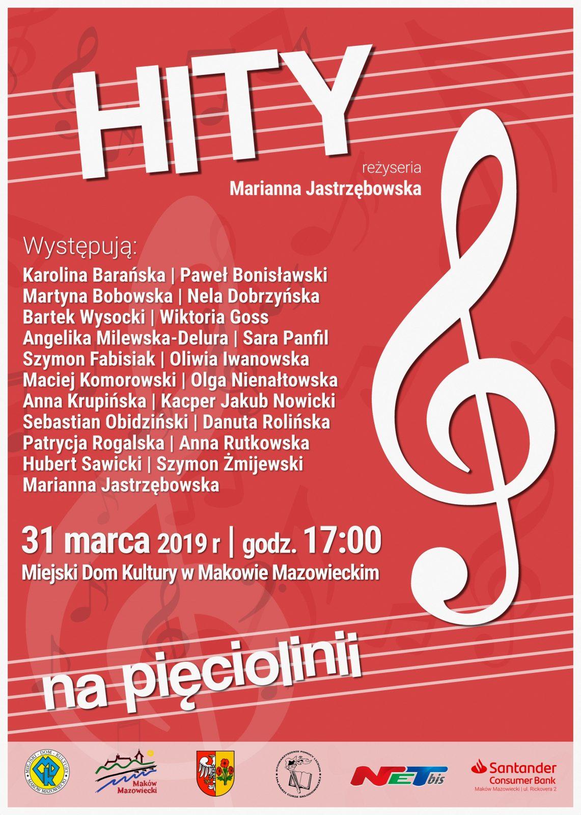 """Plakat. Koncert pod tytułem """"Hity na pięciolini"""". 31 marca 2019 godzina 17:00. Na czerwonym plakacie znajduje się biały klucz wiolynowy."""