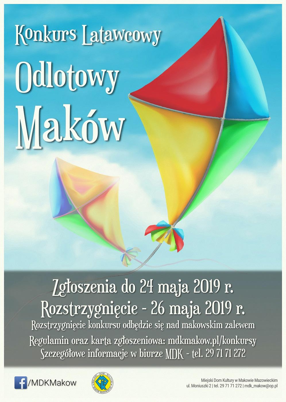 Grafika konkursu latawcowego Odlotowy Maków.