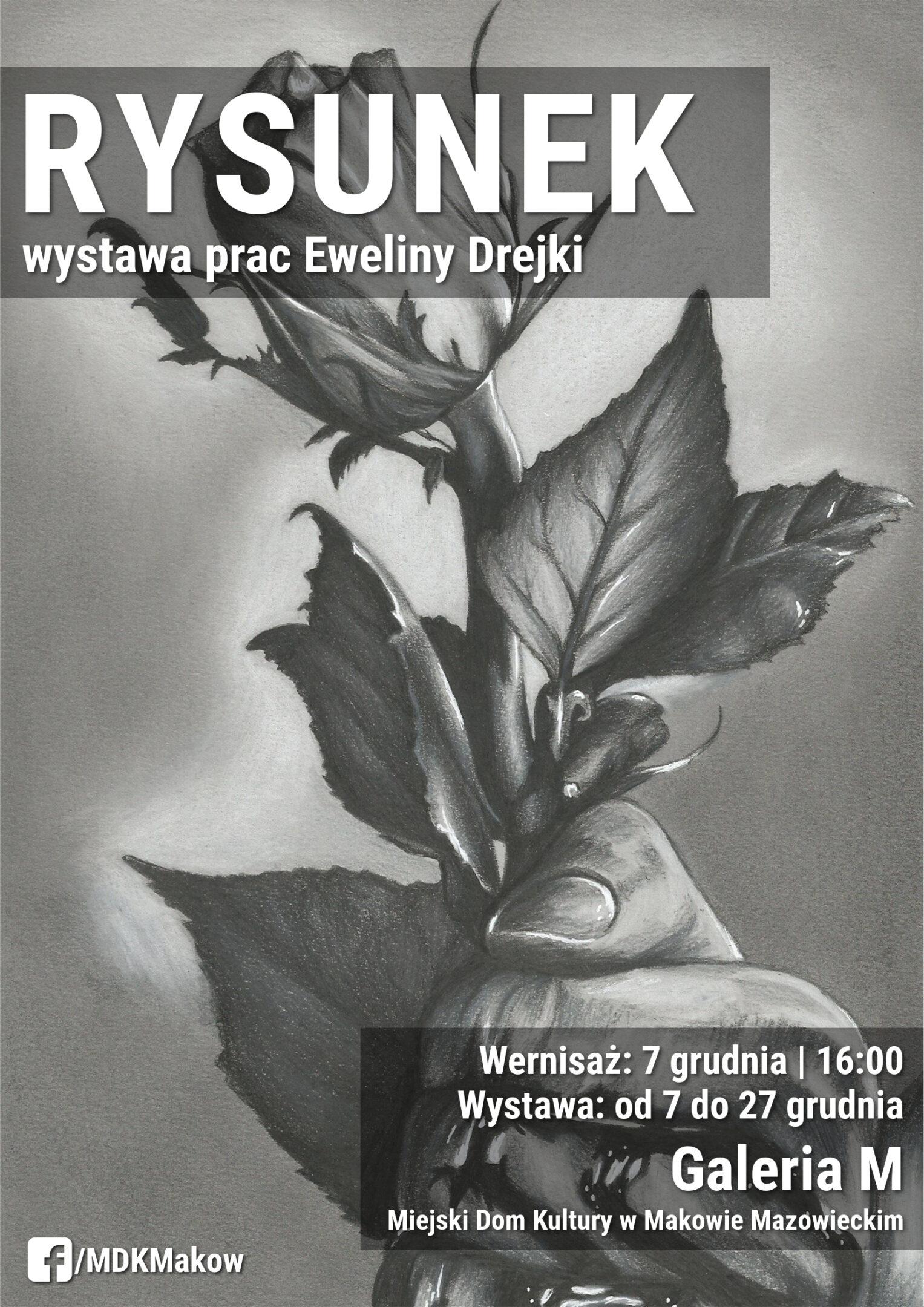 Plakat. Na szarym tle znaduje się dłoń trzrzymająca róże. U gury umieszczony jest napis Rysunek wystawa prac Eweliny Drejki. Wernisaż 7 grudnia godzina 16:00. Wystawa od 7 do 27 grudnia