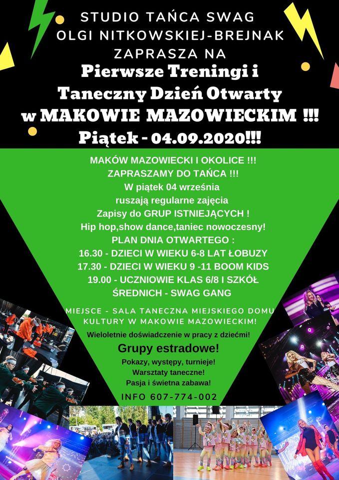 Plakat informujący o zapisach na zajęcia taneczne Szkoły Tańca SWAG. Hip - Hop, show dance, taniec nowoczesny.
