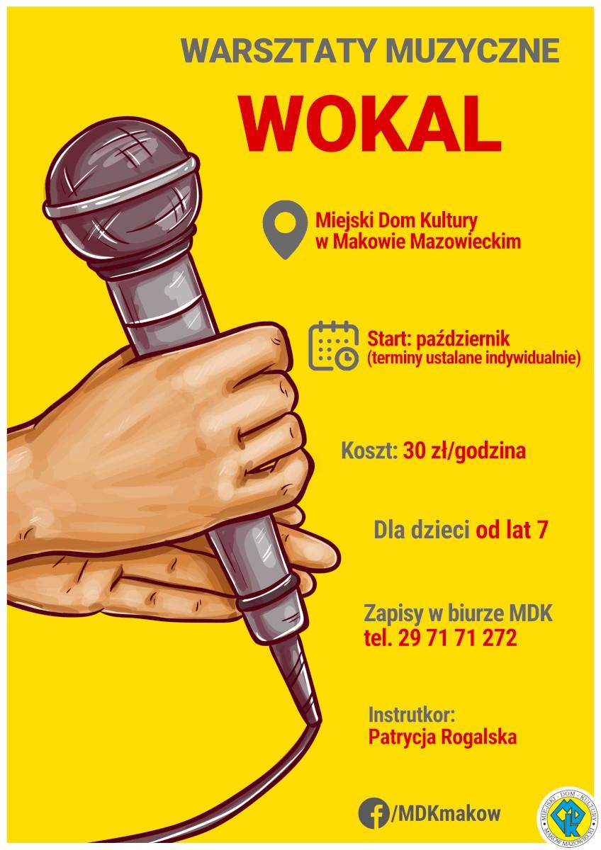 Plakat informujący o zapisach na warsztaty muzyczne, wokalne.
