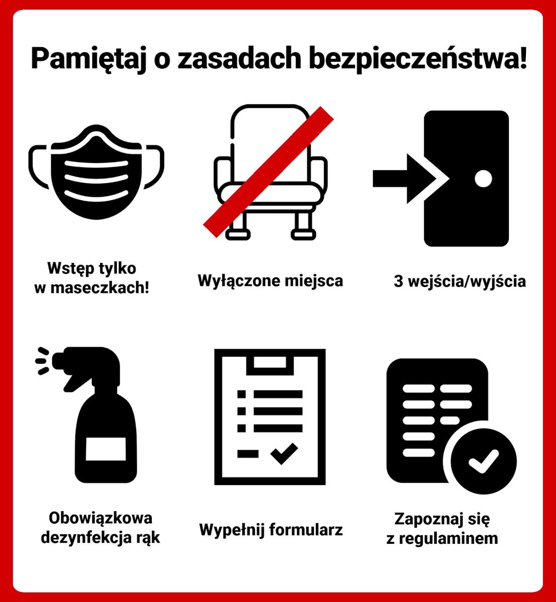 Grafika informująca o obowiązujących zasadach bezpieczeństwa podczas organizacji imprez w MDK.