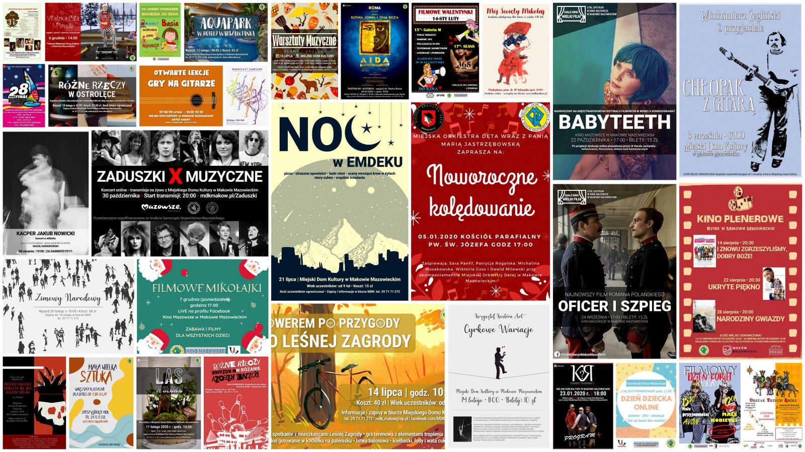 Grafika. Z plakatów wydarzen odbywających się w MDK utworzony kolaż.