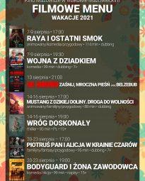 Plakat. Filmowe menu Kina Mazowsze.