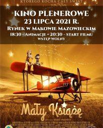 Plakat zapraszający na kino plenerowe i seans Mały Ksiąze 23 lipca 2021.
