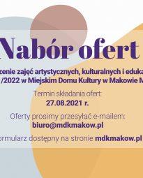 Nabór ofert na prowadzenie zajęć artystycznych, kulturalnych i edukacyjnych w Miejskim Domu Kultury