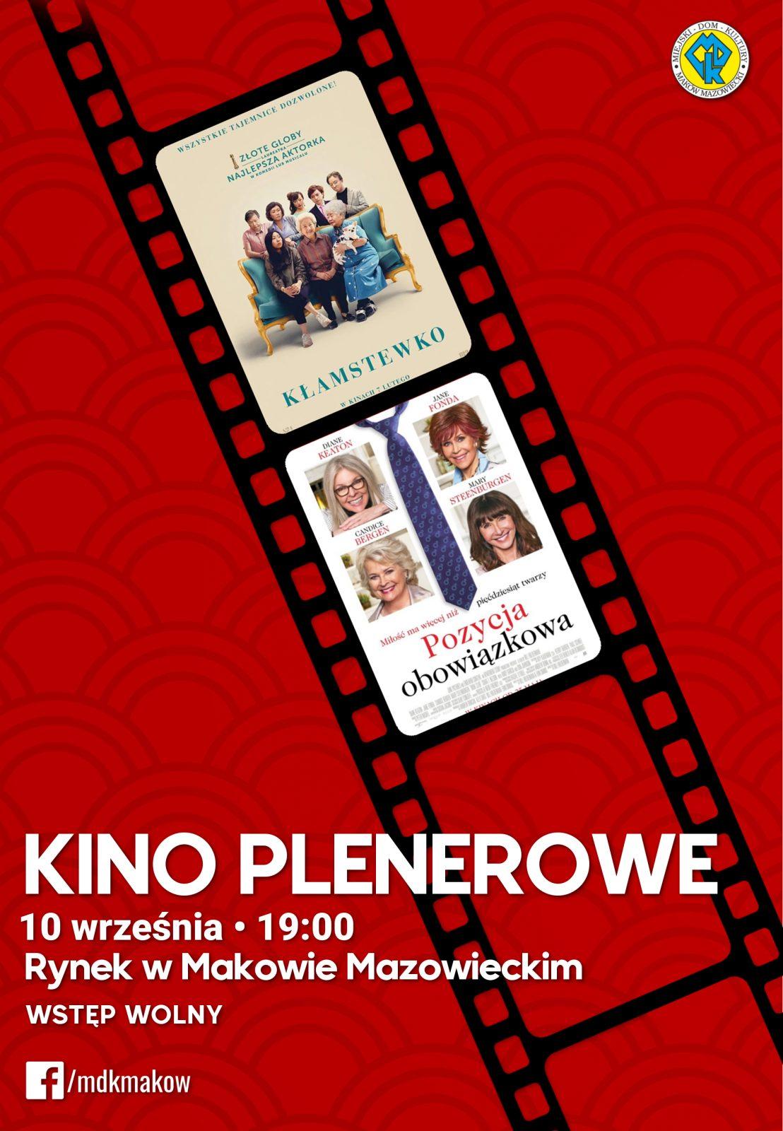 Plakat kina plenerowego, które odbędzie się 10 września na Rynku w Makowie Mazowieckim