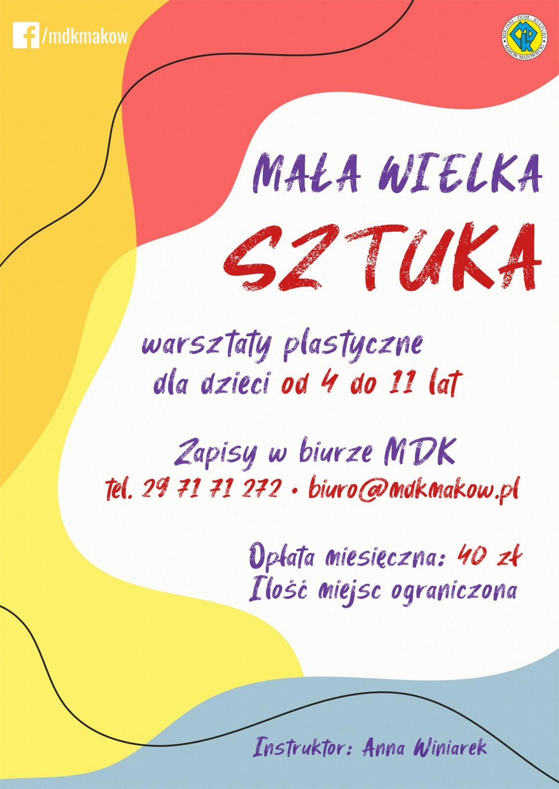 Plakat informujący o zapisach na warsztaty plastyczne dla dzieci w wieku od 4 do 11 lat.