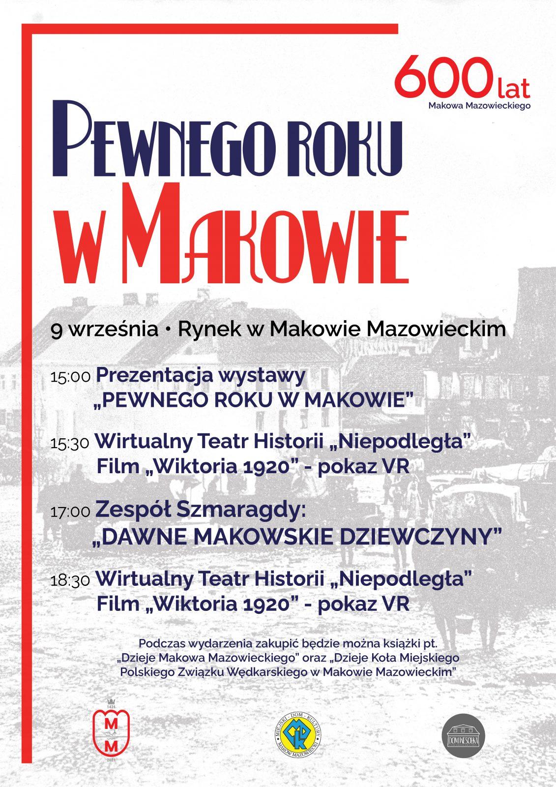 """Plakat wydarzenia pod nazwą """"Pewnego roku w Makowie"""""""