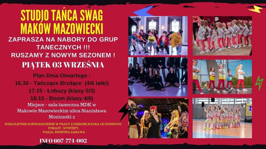 Plakat informujący o dniu otwartym i zapisach na zajęcia taneczne Studia Tańca SWAG. Na rózowym tle po lewej stronie informacje, po prawej w dóch kolumnach po trzy zdjęcia, na których są tancerze.